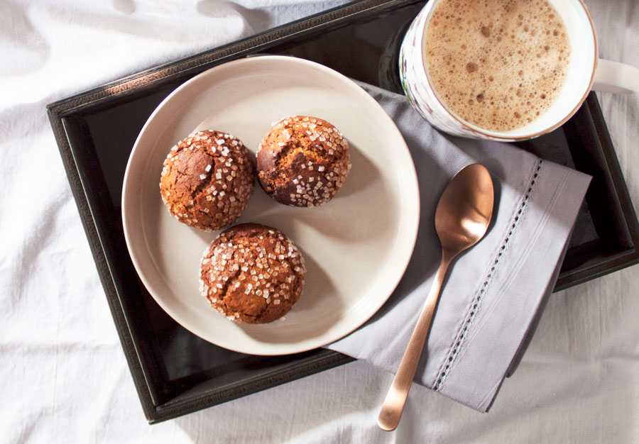 spiced chai ginger cookies with coffee in bed