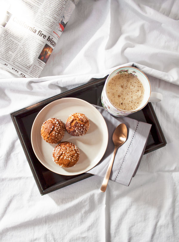 spiced chai ginger cookies with coffee and the morning newspaper, in bed