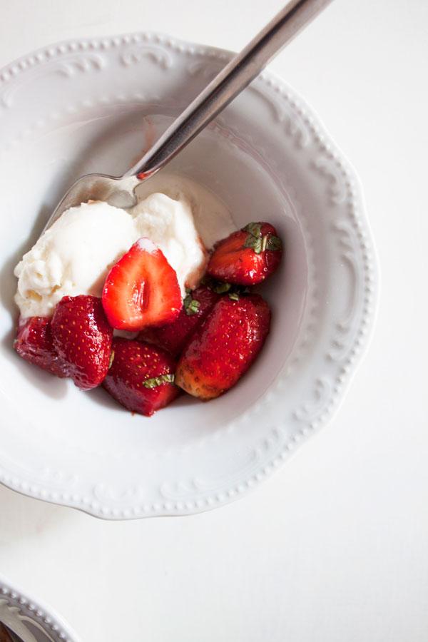 strawberries with ice cream
