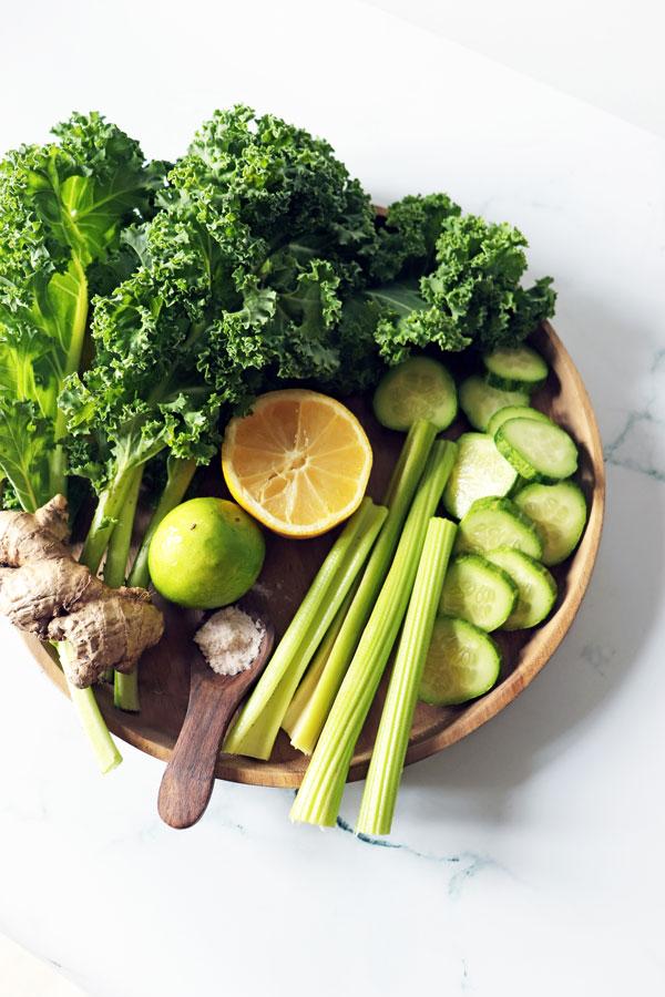 Kale, celery, lemon, lime, cucumber, ginger